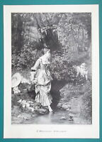 LOVELY GIRL in Forest Stream to Bath Surprised by Dog - VICTORIAN Era Print