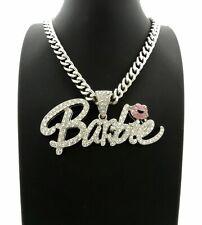 "Women Hip Hop Iced Barbie Pendant & 9mm 18"" Cuban Link Chain Fashion Necklace"