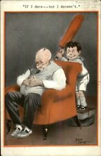 Fred Spurgin - Boy About Whack Sleeping Father w/ Paddle c1915 Postcard