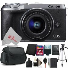 Canon EOS M6 Mark II Mirrorless Camera Silver with 15-45mm + 64GB Accessory Kit