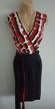 COAST Womens wrap over smart black cream & pink 31% silk dress size 14