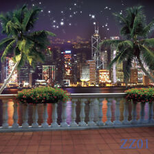 6X9FT City Night Lake Tree Scenic Polyester Photo Background Backdrop Seamless