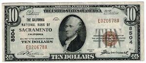 1929 $10 DOLLARS CALIFORNIA NATIONAL BANK OF SACRAMENTO