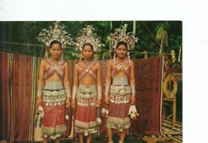 VINTAGE postcard:  BEAUTIFUL DAYAK GIRLS IN FESTIVAL COSTUMES  MALAYSIA  1976
