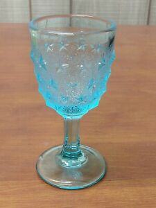 LG Wright STIPPLED STAR Colonial Light Blue Art Glass Mid Century WINE GOBLET