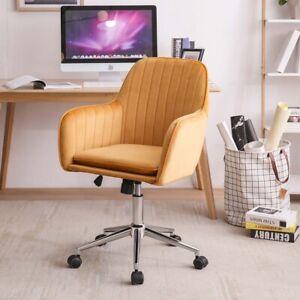 Office Chair Swivel Velvet Padded Seat Home Computer Desk Armchair Adjustable UK