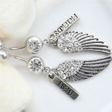 CZ Gem  2pcs Navel Ring Best Friends Wings Dangle Belly Button Body Piercing