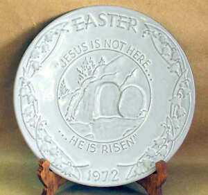 HE IS RISEN 1972 Easter Plate Plaque FRANKOMA POTTERY Oral Roberts VTG FREE SH