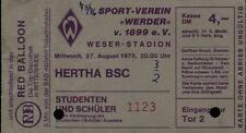 Ticket BL 75/76 Werder Bremen - Hertha BSC, 27.08.1975