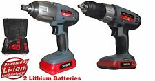 24 volts sans fil impact clé & perceuse 2 x li-ion batteries et chargeur