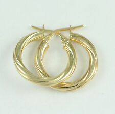 14k Yellow Gold Twisted Hoop Earrings, (NEW 2cm diameter, 3 mm thick, 1.5g) 2642