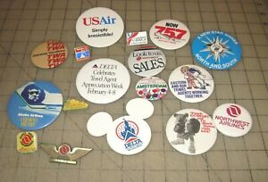 19 AIRLINE PINBACKS BUTTONS & Lapel Pins - Delta, Northwest, Eastern, US Air ++