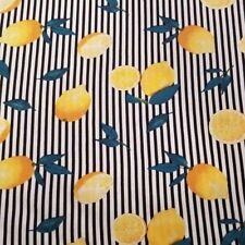 Charming Black and White Stripe Rayon Poplin Shirting With Lemons - Fresh, Cute!
