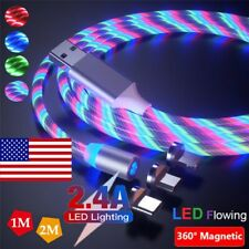 US LED Light Glowing Magnetic Type C Micro USB Charger Cable For Samsung Android