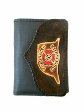 Volunteer Firefighter Leather Trifold Wallet, Fire Department, Free Keychain