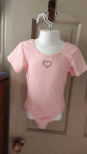Girls Sz Small Light Pink Short Sleeves Gymnastic Dance Leotard w Sparkly Heart