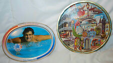 Lot Of 2 1984 Los Angeles Olympics Tin Plate & New Orleans Tin Souvenir Plate