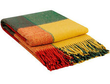 Plaid wool throws Blanket New Zeland Wool 100% tartan Scottish Elf Traffic light