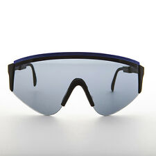 Large Wrap Cycling Vintage Sunglasses Made in France Navy Blue 1980s - Marcel
