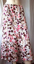 Country Casuals Petite Lined 100% Linen Skirt beige burgandy pink pattern size12