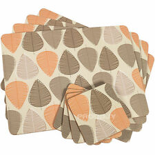 Set of 4 Beige Orange & Brown Leaf Dining Table Placemats & Coasters Tablemats