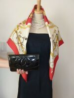"""AUTH Chanel """"COCO"""" Black patent Clutch Wallet Bag"""