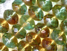 VTG 75 BROWN GREEN AUTUMN COLORS OMBRE DONUT FP GLASS BEADS 6X9mm #060215g