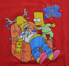 Deck the Homer Large Red T Shirt Xmas Bart The Simpsons Holiday Matt Groening