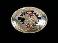"""Vintage American Eagle Belt Buckle Flag 5"""" Large Oval Gold Rodeo Western Ornate"""