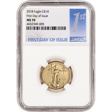 2018 American Gold Eagle (1/4 oz) $10 - NGC MS70 First Day of Issue 1st Label