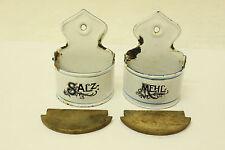 ESF-00985Alte Salz- & Mehlmetze für Puppenküche, Blech, emailliert