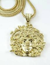 NEW EXCLUSIVE MEDUSA HEAD 14K GOLD FINISH GREEK PENDANT FRANCO NECKLACE CHAIN