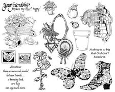 Unmounted Rubber Stamps Sheets, Flowers, Butterflies, Victorian Boot, Friendship