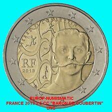 """FRANCE 2013 2 EURO COMMEMORATIVE """"BARON PIERRE DE COUBERTIN"""" SUPERBE    PREVENTE"""