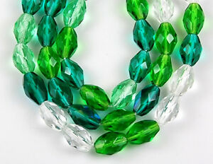 25pcs Czech Mixed Oval Crystal Green Fire Polished Faceted Glass Beads 7x10mm