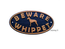 Whippet & Motif Beware Of The Dog Sign - House Garden Plaque - Black/Gold