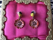 Betsey Johnson Vintage Hawaiian Luau Yellow Ladybug Pink Flower Earrings