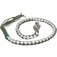 Motorcycle Get Back Whip Leather 42 Inch Long White Green Harley Universal