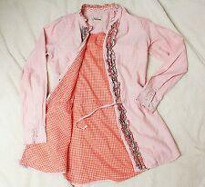 Rosa Orange Kariert Keilani  Baumwolle Hemd Bluse Tunika Rüschen Band S M 36 38