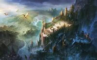 Home Art Wall Decor Fantasy World Castle Tower Oil Painting Printed On Canvas