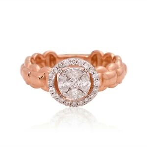 Certified Natural 0.6 Ct. Marquise Diamond Band Ring Solid 14k Rose Gold Jewelry