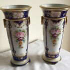 Vintage Noritake Porcelain Flowers & Gold Gilded Pair of Tall 3 Footed Vases
