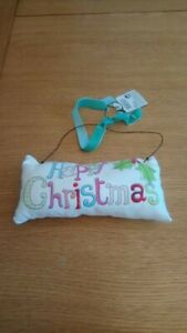 Happy Christmas hanging pillow decoration brand new