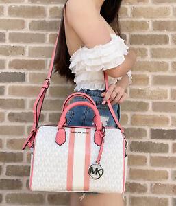 Michael Kors Bedford Satchel Small Logo Stripe Handbag White MK Grapefruit Pink