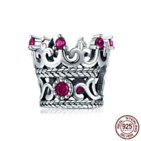 925 Sterling Silver Queen Crown Charm pandora Beads Bracelet Authentic