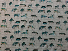 Stoff Sweat Baumwolle Digitaldruck Wolf W��lfe grau bi-elastisch Meterware 0,25m