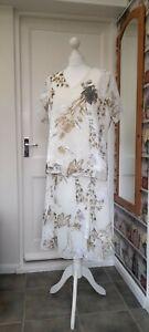 Cream Floral Wedding Suit Skirt Top 16/18