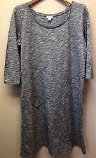 Pure Jill J. Jill Womens S Stretch Knit Blue 3/4 Sleeve Casual Layered Hem Dress
