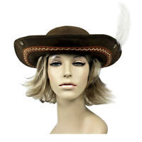 Adult Women's Brown Faux Leather Embroidered Feather Cosplay Costume Pirate Hat
