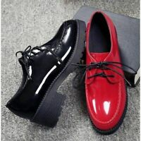 Womens Retro Creepers Patent Leather Lace Up Block Heels Grace Collegiate Shoes